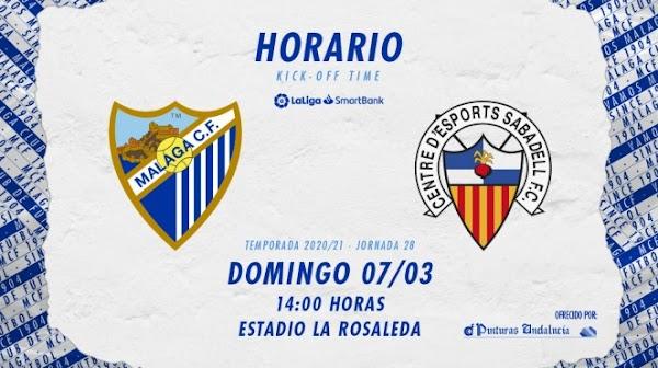 El Málaga - Sabadell, el domingo 7 de marzo a las 14:00 horas