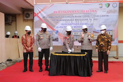 Kapolda Sulsel Letakkan Batu Pertama Dimulainya Pembangunan Gedung Kantor RS Bhayangkara Berlantai 3