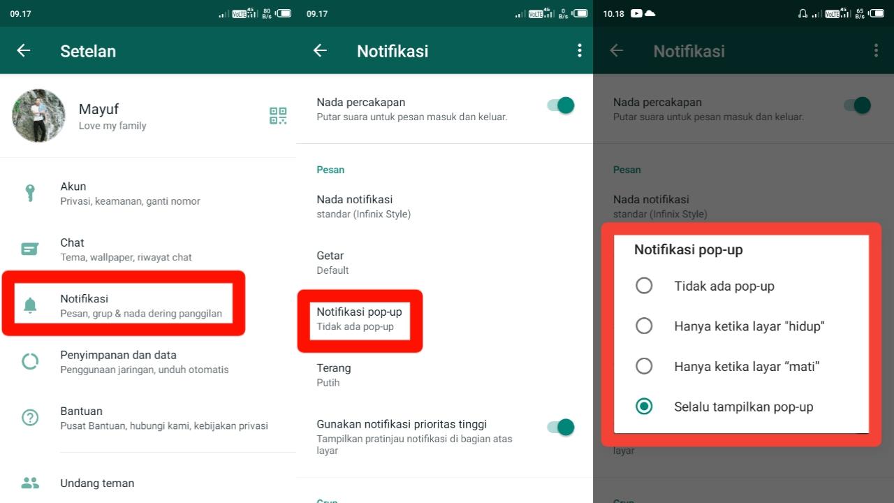 Cara Mengaktifkan Notifikasi Pop-Up di WhatsApp