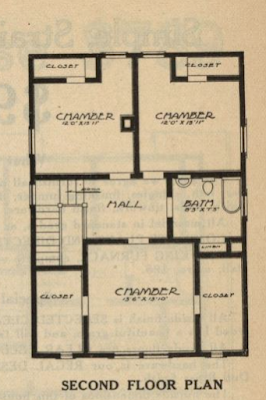 gordon van tine no 121 second floor plan 1916 standard homes catalog
