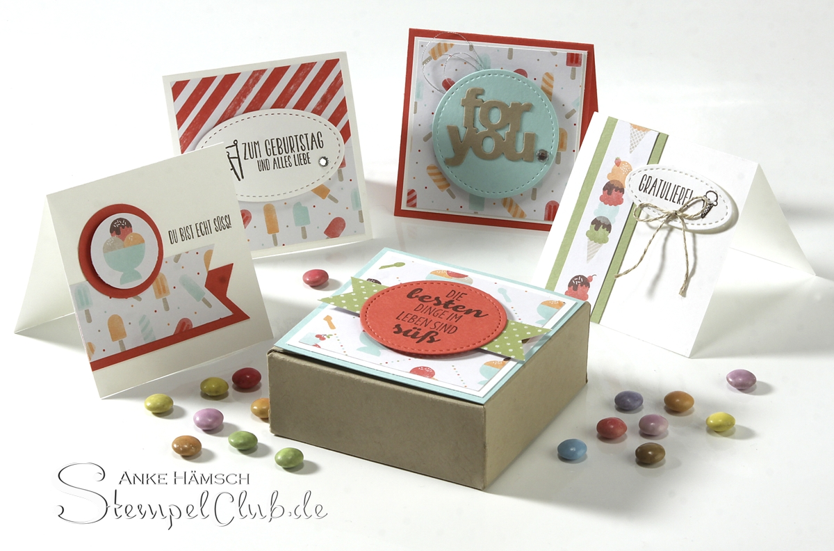 Minicards in a box, Minikarten in Envelope Punchboard Box