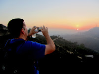 Photographing the sunset from the north side of Mt. Hollywood