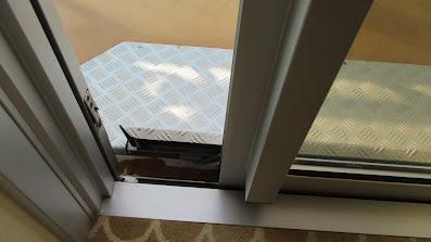 Handicapped accessible balcony cabin balcony door on Princess Cruises Royal Princess cruise ship