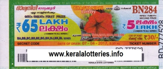 Kerala lottery result live of Bhagyanidhi (BN-182) on  03 April 2015