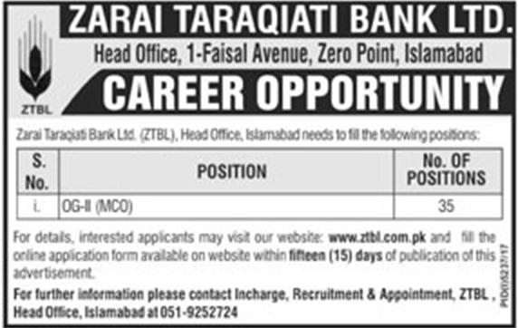 Jobs In ZTBL Zarai Taraqiati Bank Limited March 2018 - Apply Online