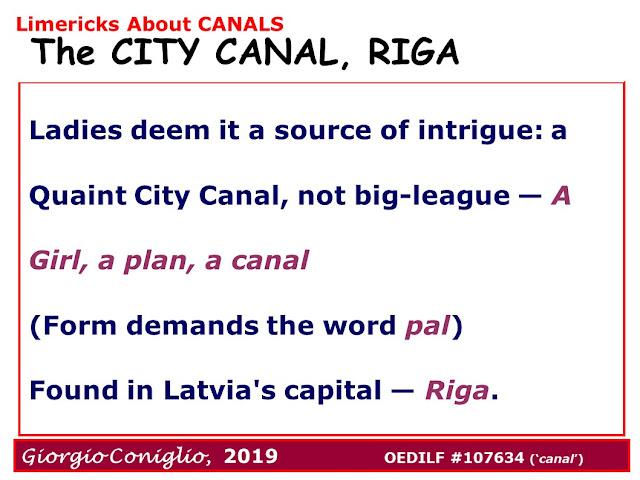 limerick; canal; Riga; Latvia; wordplay; palindrome; Giorgio Coniglio