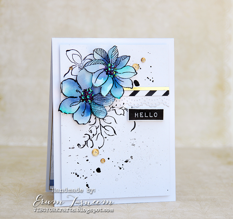 April Inspiration Challenge - Altenew Wild Hibiscus watercolored using distress inks. Other stamps used; Label Love, Golden Garden and Painted Butterflies