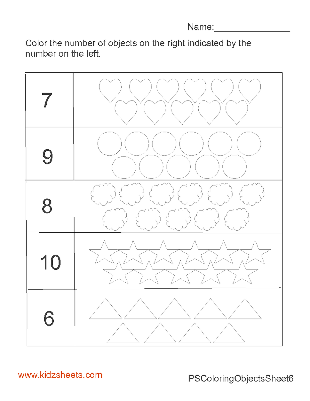 Kidz Worksheets Preschool Count Amp Color 6 10 Worksheet1