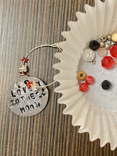 I love you to the moon and back wine glass charm handmade