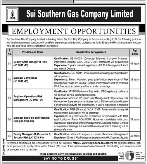 Jobs in Sui Southern Gas Company Limited