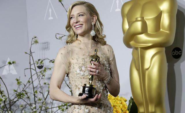Cate Blanchett como flamante ganadora del Oscar a la Mejor Actriz Protagonista en 2014 por Blue Jasmine