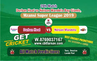 Mzansi Super League Nelson vs Durban 20th Match Prediction Today Reports
