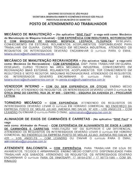 VAGAS DE EMPREGO DO PAT BARRETOS PARA 05-11-2020 PUBLICADAS DE MANHÃ - Pag. 8