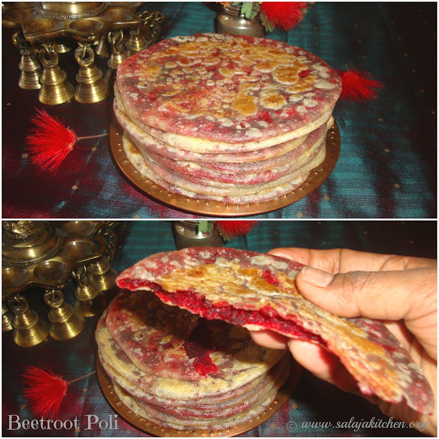 images of Beetroot Poli Recipe / Beetroot Stuffed Indian Bread