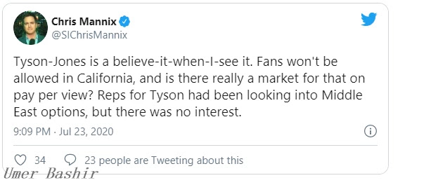 """Jones was interviewed before Sports.ru announced that it was """"insane"""" to accept an offer to fight and reject Tyson."""