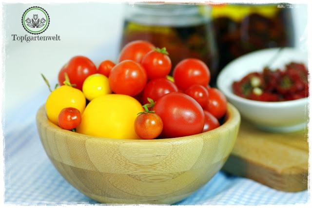 Gartenblog Topfgartenwelt Antipasti: kleine Tomaten zum Trocknen und Einlegen verwenden