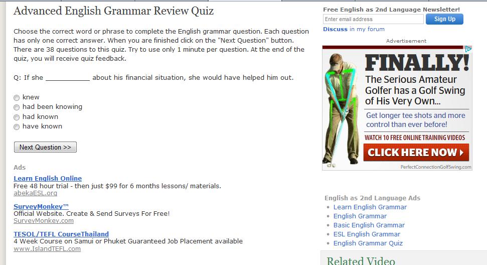 Online Grammar and Diagnostic Test | E - Portfolio