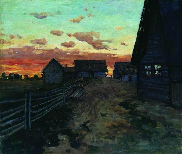 Исаак Ильич Левитан - Избы. После захода солнца. 1899