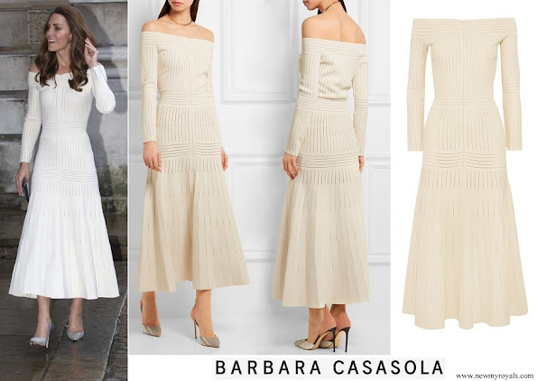 Kate Middleton wore Barbara Casasola Off-the-shoulder mesh-paneled stretch-jersey dress