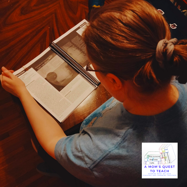 A Mom's Quest to Teach:  Building Reading Comprehension and Fluency Skills: A Review of Mosdos Press Literature - Opal - previewing the material in the Teacher's Edition