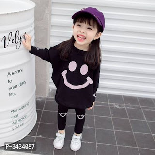 Imported Fancy Cotton Top And Trouser Set For Girls