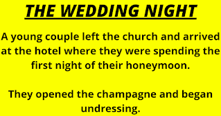 """A young couple left the church and arrived at the hotel where they were spending the first night of their honeymoon.    They opened the champagne and began undressing.    When the bridegroom removed his socks, his new wife asked, """"Ewww what's wrong with your feet? Your toes look all mangled and weird.    """"Why are your feet so gross?""""    """"I had Tolio as a child,"""" he answered.    """"You mean Polio?"""" she asked.    No, Tolio. The disease only affected my toes.""""    The bride was satisfied with this explanation, and they continued undressing.    When the groom took off his pants, his bride once again wrinkled up her nose.    """"What's wrong with your knees?"""" she asked. """"They're all lumpy and deformed!""""    """"As a child, I also had Kneasles,"""" he explained.    """"You mean Measles?"""" she asked.    """"No, Kneasles. It was a strange illness that only affected my knees.""""    The new bride had to be satisfied with this answer.    As the undressing continued, her husband at last removed his underwear.    """"Don't tell me,"""" she said. """"Let me guess...........    """"Smallcox?"""""""
