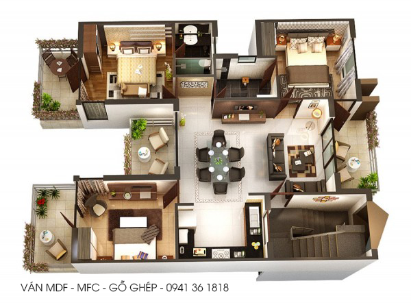 thiết kế nội thất căn 3pn