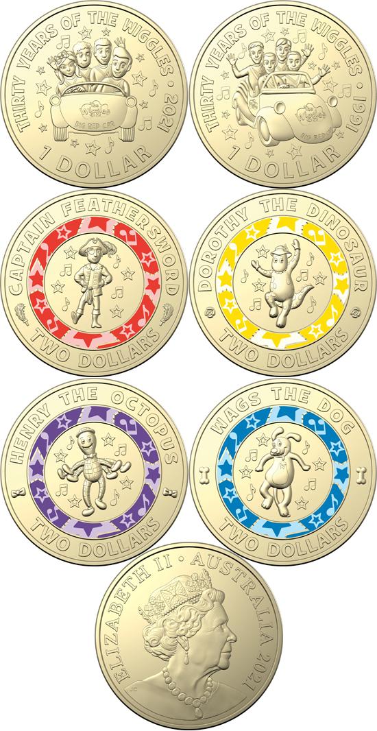 Australia 1 & 2 dollars 2021 - 30 Years of The Wiggles