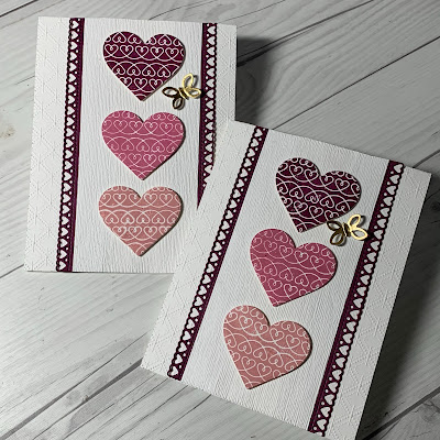 Stampin' Up! Valentine Card using Lots of Heart Stamp Set