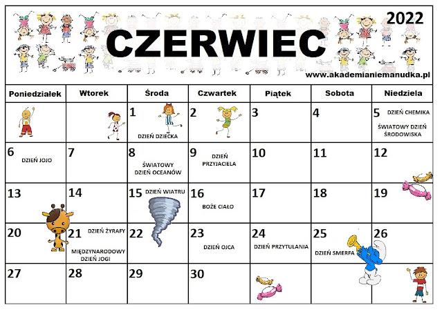 Kalendarz świąt nietypowych dla dzieci na rok szkolny 2021/2022 czerwiec