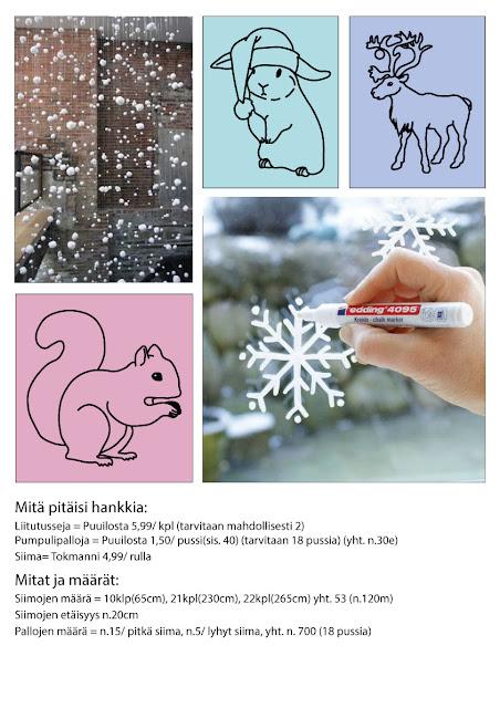 Tekemäni moodboard näyteikkunasta. Kuvassa on lumisadenauhoja ja piirrettyjä eläimiä, jotka tulisivat Stytyn ikkunaan.