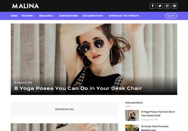 Malina Blogger Template