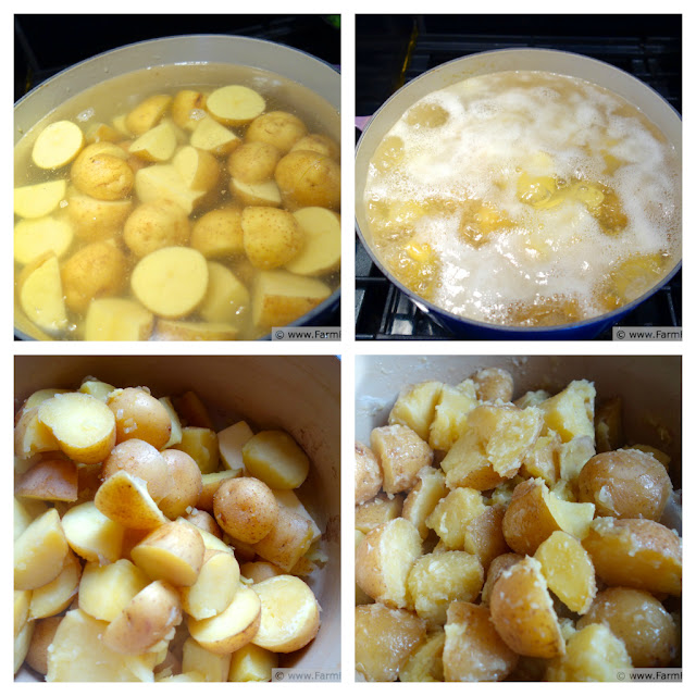 collage image showing cubed yukon gold potatoes cooking in water, then drained and mixed with melted butter