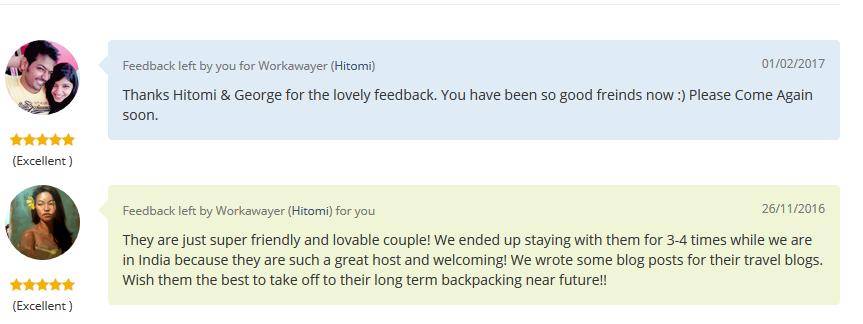Workaway feedback for atishay & astha