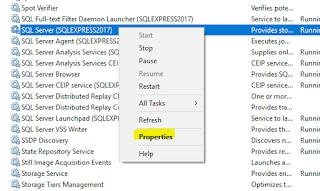 SQL Server Service - Properties