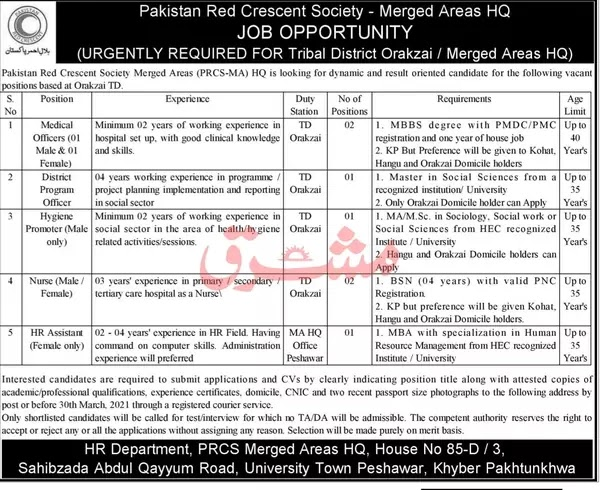 Medical Jobs | Pakistan Red Crescent Society 2021