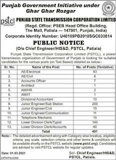 PSTCL Recruitment 2021 for JE AE LDC etc. Posts