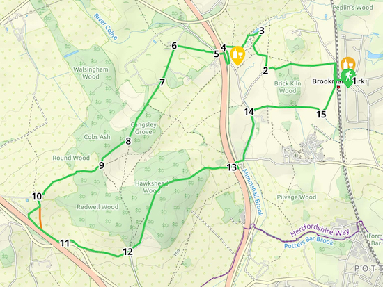 Map for Walk 85: North Mymms Park S Loop Created on Map Hub by Hertfordshire Walker Elements © Thunderforest © OpenStreetMap contributors See the interactive map below the directions for KML and GPX details