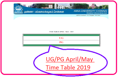 Anna University UG/PG Time Table April May 2019