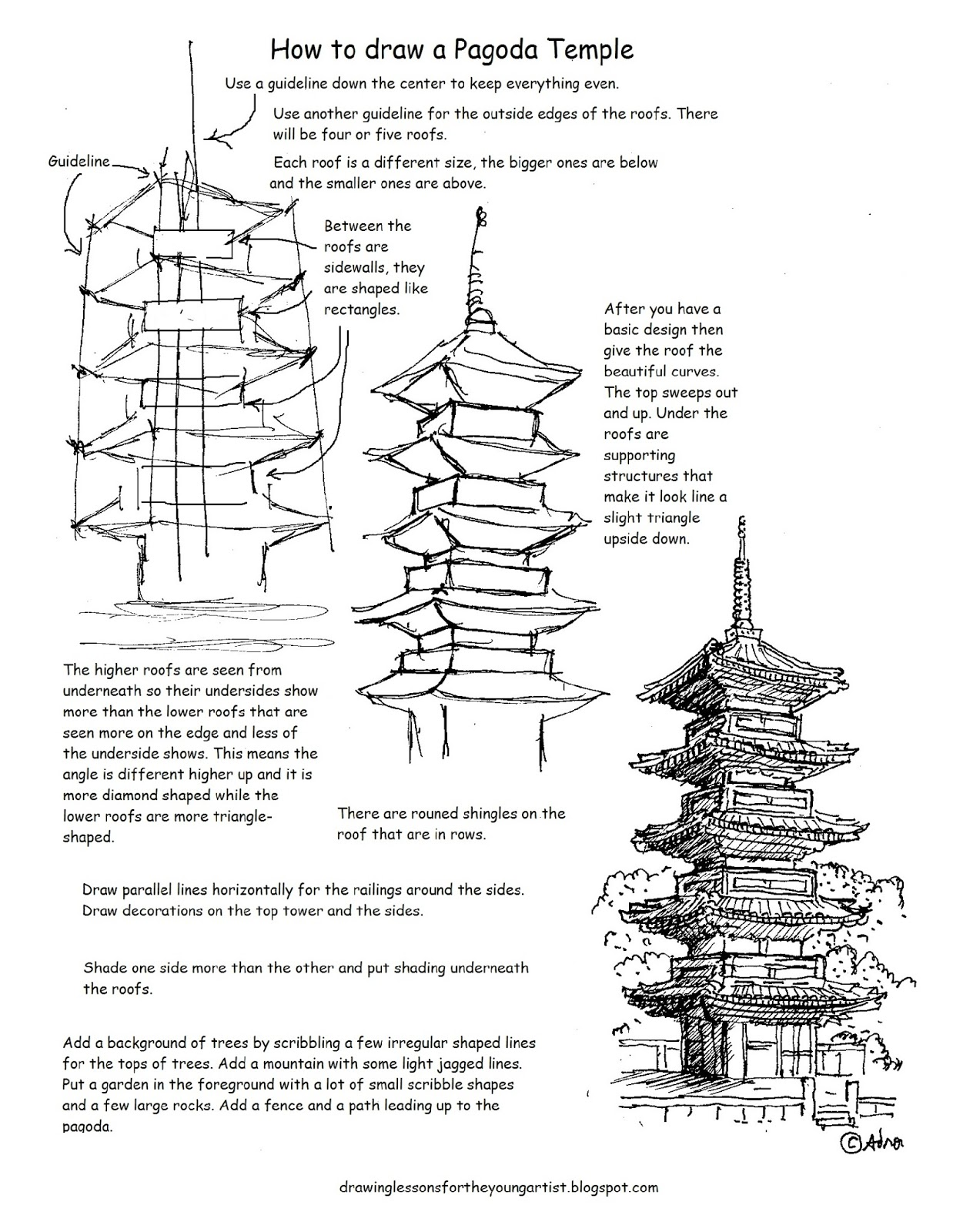 worksheet Bigger And Smaller Worksheets how to draw worksheets for the young artist a japanese pagoda temple worksheet