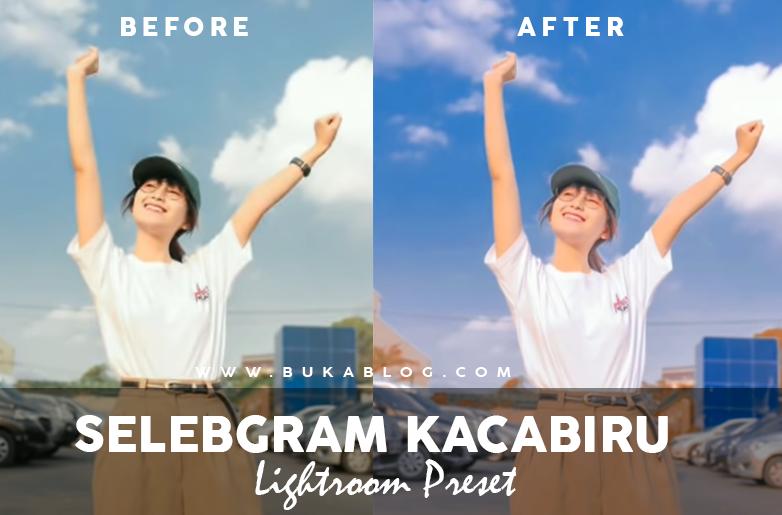Sebelum dan Sesudah menggunakan Preset Kaca Biru :