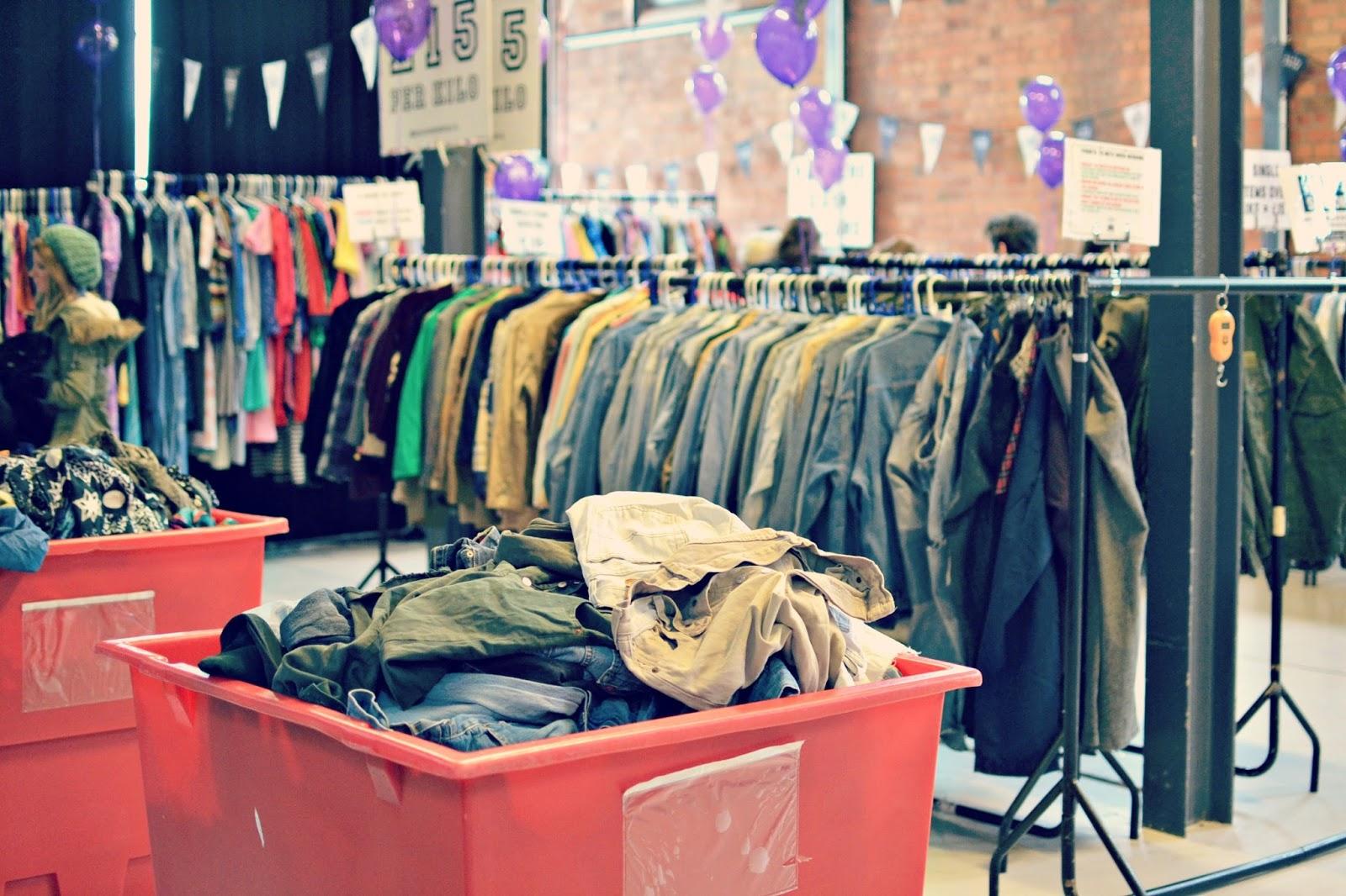 vintage kilo sale, jeans, jackets
