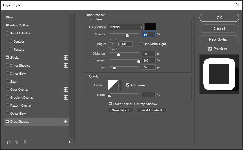 membuat efek bayangan teks dengan Drop Shadow