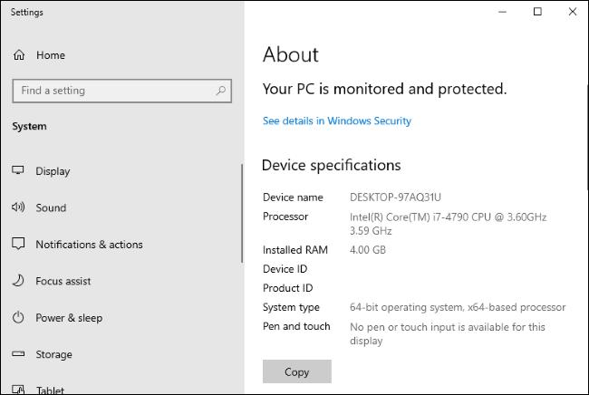 إعدادات Windows 10> النظام> صفحة حول.