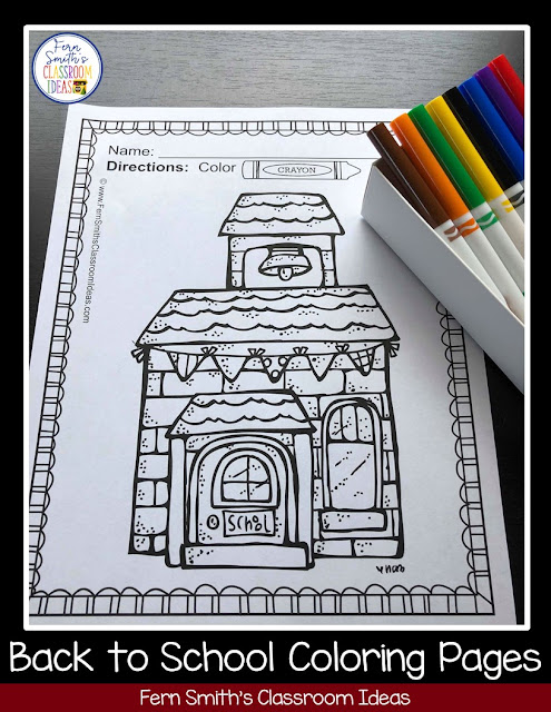 Back to School and Apple Themed Coloring Pages for grades Pre-K to 2nd Grade from Fern Smith at #FernSmithsClassroomIdeas