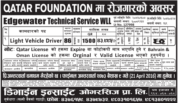 Jobs For Nepali In Qatar, Salary -Rs.43,995/