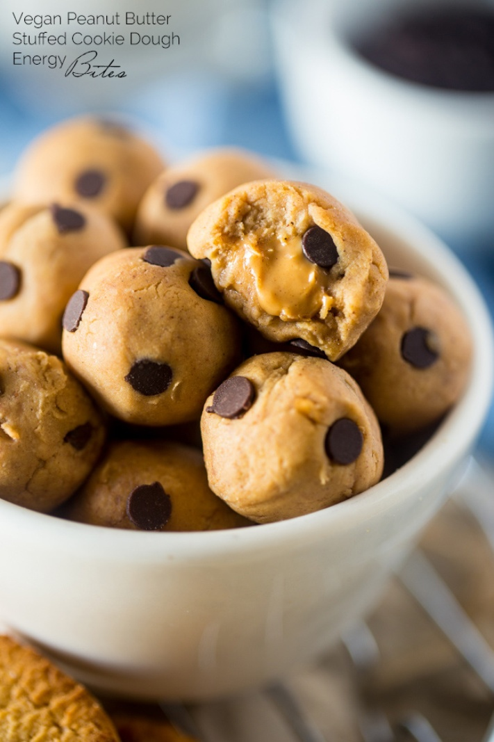 Vegan PB stuffed cookie dough energy bites plus 30 Real Food Gluten Free Recipes to Fuel Your Next Run or Workout! Natural energy to fuel you for a run or even sustain you after!