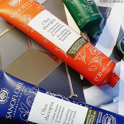 Blog PurpleRain - Crèmes mains Sanoflore Olea Therapia