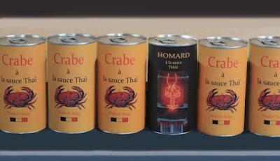 boîte, conserve, homard, crabe