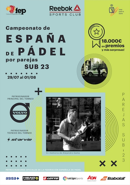 Campeonato España de Pádel Sub 23 del 29 Julio al 1 agosto 2020 en Madrid.